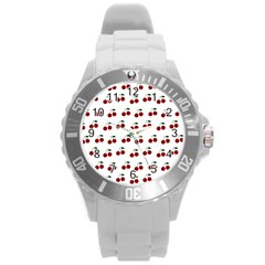 Cherries Round Plastic Sport Watch (l) by snowwhitegirl