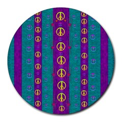 Peace Be With Us This Wonderful Year In True Love Round Mousepads by pepitasart