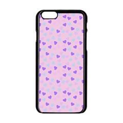 Blue Pink Hearts Apple Iphone 6/6s Black Enamel Case by snowwhitegirl