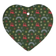 Music Stars Grass Green Ornament (heart) by snowwhitegirl