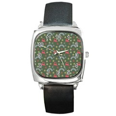 Music Stars Grass Green Square Metal Watch by snowwhitegirl