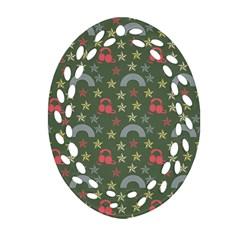 Music Stars Grass Green Oval Filigree Ornament (two Sides) by snowwhitegirl
