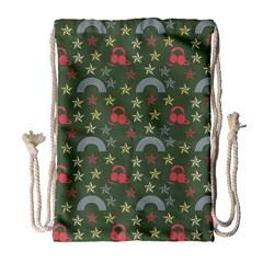 Music Stars Grass Green Drawstring Bag (large) by snowwhitegirl