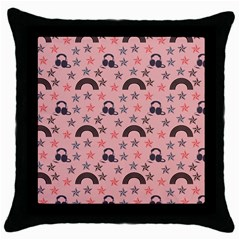 Music Stars Peach Throw Pillow Case (black)