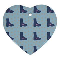 Deer Boots Teal Blue Ornament (heart) by snowwhitegirl