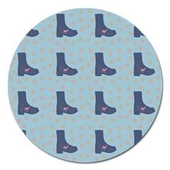 Deer Boots Teal Blue Magnet 5  (round) by snowwhitegirl