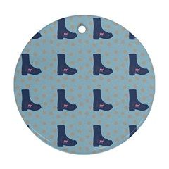 Deer Boots Teal Blue Round Ornament (two Sides) by snowwhitegirl