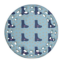 Deer Boots Teal Blue Round Filigree Ornament (two Sides) by snowwhitegirl