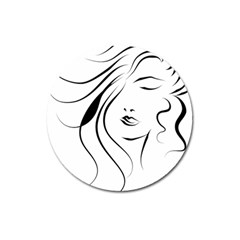 Womans Face Line Magnet 3  (round) by Jojostore