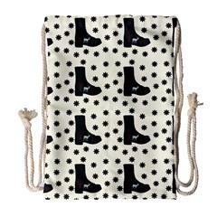 Deer Boots White Black Drawstring Bag (large) by snowwhitegirl
