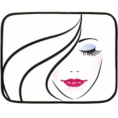 Makeup Face Girl Sweet Fleece Blanket (mini) by Mariart