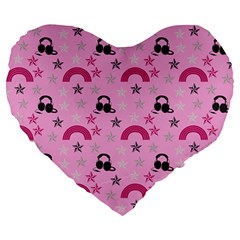Music Stars Rose Pink Large 19  Premium Heart Shape Cushions by snowwhitegirl