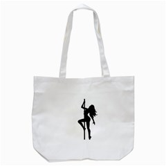 Dance Silhouette Pole Dancing Girl Tote Bag (white) by Alisyart