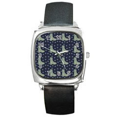 Blue Boots Square Metal Watch by snowwhitegirl