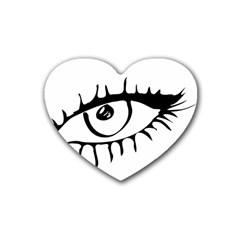 Drawn Eye Transparent Monster Big Rubber Coaster (heart)  by Alisyart