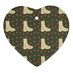 Green Boot Heart Ornament (two Sides) by snowwhitegirl