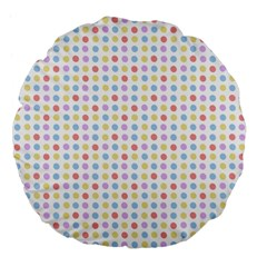 Blue Pink Yellow Eggs On White Large 18  Premium Flano Round Cushions by snowwhitegirl