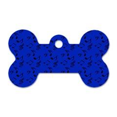 Royal Blue Music Dog Tag Bone (one Side) by snowwhitegirl
