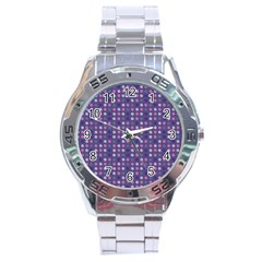 Violet Grey Purple Eggs On Grey Blue Stainless Steel Analogue Watch by snowwhitegirl
