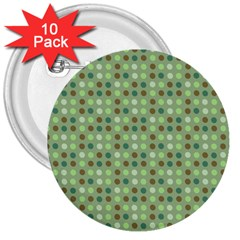 Green Brown  Eggs On Green 3  Buttons (10 Pack)  by snowwhitegirl