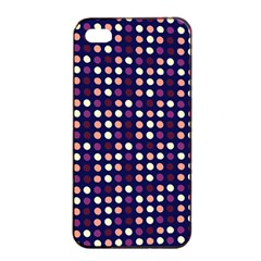 Peach Purple Eggs On Navy Blue Apple Iphone 4/4s Seamless Case (black)