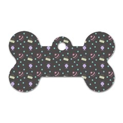Cakes Yellow Pink Dot Sundaes Grey Dog Tag Bone (two Sides) by snowwhitegirl