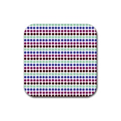 Multi White Dots Rubber Square Coaster (4 Pack)  by snowwhitegirl