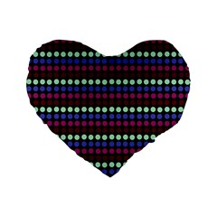 Multi Black Dots Standard 16  Premium Flano Heart Shape Cushions by snowwhitegirl