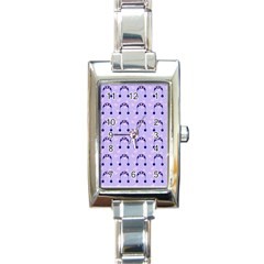 Winter Hat Snow Heart Lilac Blue Rectangle Italian Charm Watch by snowwhitegirl