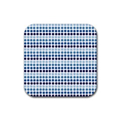 Blue Dots Rubber Square Coaster (4 Pack)  by snowwhitegirl