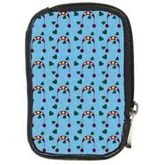 Winter Hat Red Green Hearts Snow Blue Compact Camera Cases by snowwhitegirl