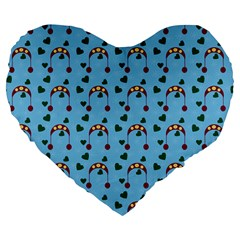 Winter Hat Red Green Hearts Snow Blue Large 19  Premium Flano Heart Shape Cushions by snowwhitegirl