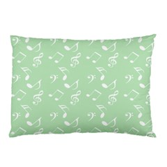 Mint Green White Music Pillow Case by snowwhitegirl