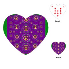 Peace Be With Us In Love And Understanding Playing Cards (heart)  by pepitasart