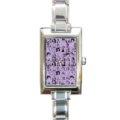 Lilac Yearbok Rectangle Italian Charm Watch by snowwhitegirl