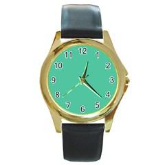 Seafoamy Green Round Gold Metal Watch