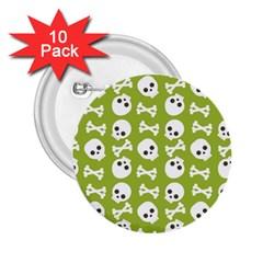 Skull Bone Mask Face White Green 2 25  Buttons (10 Pack)  by Alisyart