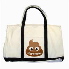 Poo Happens Two Tone Tote Bag by Vitalitee