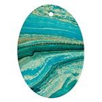 Mint,gold,marble,nature,stone,pattern,modern,chic,elegant,beautiful,trendy Ornament (Oval)