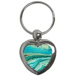 Mint,gold,marble,nature,stone,pattern,modern,chic,elegant,beautiful,trendy Key Chains (Heart)