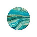 Mint,gold,marble,nature,stone,pattern,modern,chic,elegant,beautiful,trendy Rubber Coaster (Round)