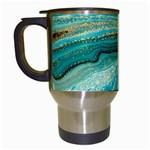 Mint,gold,marble,nature,stone,pattern,modern,chic,elegant,beautiful,trendy Travel Mugs (White)