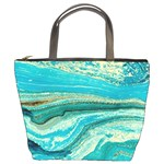 Mint,gold,marble,nature,stone,pattern,modern,chic,elegant,beautiful,trendy Bucket Bags