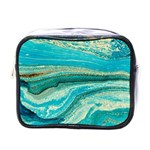 Mint,gold,marble,nature,stone,pattern,modern,chic,elegant,beautiful,trendy Mini Toiletries Bags