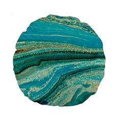 Mint,gold,marble,nature,stone,pattern,modern,chic,elegant,beautiful,trendy Standard 15  Premium Round Cushions by 8fugoso