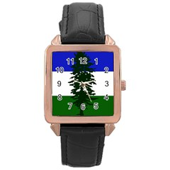 Flag Of Cascadia Rose Gold Leather Watch  by abbeyz71