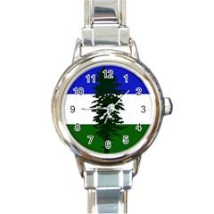 Flag Of Cascadia Round Italian Charm Watch by abbeyz71