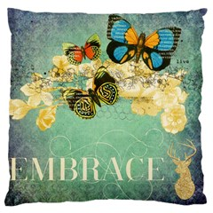 Embrace Shabby Chic Collage Large Flano Cushion Case (two Sides) by 8fugoso