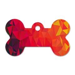 Triangle Geometric Mosaic Pattern Dog Tag Bone (two Sides) by Nexatart