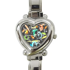Repetition Seamless Child Sketch Heart Italian Charm Watch by Nexatart